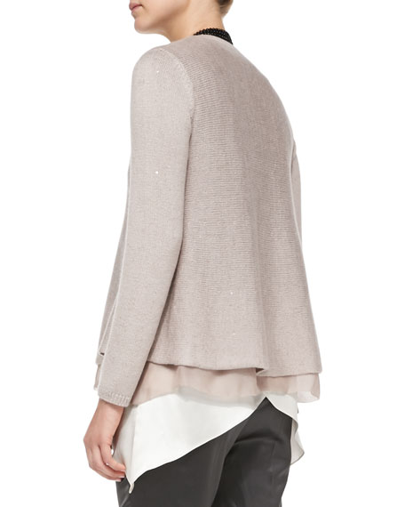 V-Neck Paillette Sweater with Silk Underlay