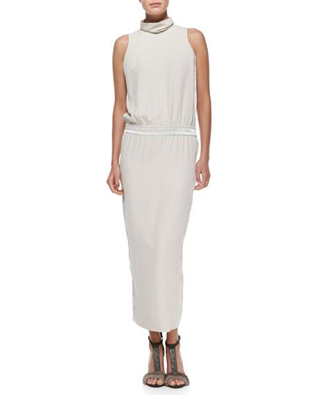 Sleeveless Mock-Neck Silk Gown