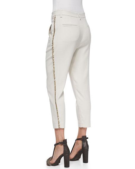 Cropped Paillette-Stripe Pants