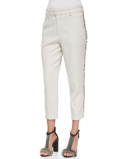 Brunello Cucinelli Cropped Paillette-Stripe Pants