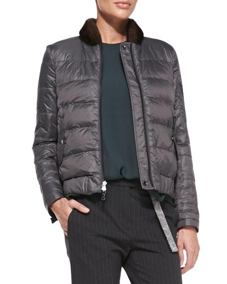 Reversible Fur-Collar Puffer Jacket