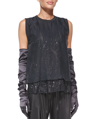 Brunello Cucinelli Marbled-Embroidered Layered Combo Top