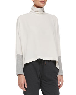 Brunello Cucinelli Mock-Neck Cutout Trapeze Top