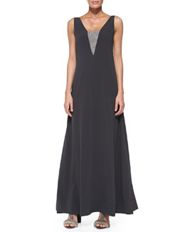 Brunello Cucinelli Sleeveless Monili-Detail V-Back Gown