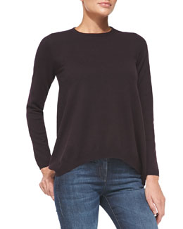 Brunello Cucinelli Cashmere Trapeze Pullover Sweater, Blackberry