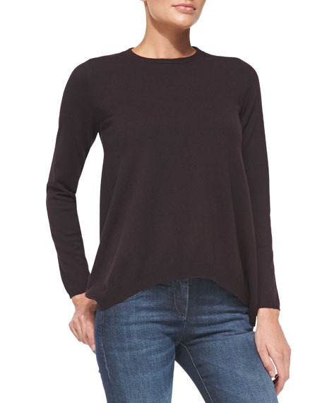Cashmere Trapeze Pullover Sweater, Blackberry