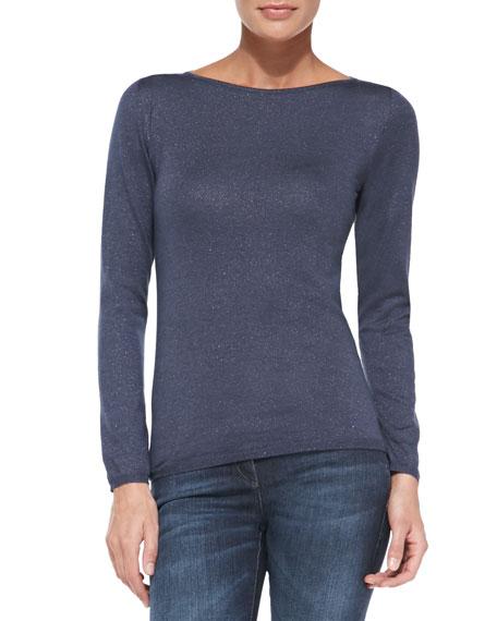 Shimmery Basic Sweater, Twilight