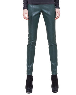 Akris Slim Stretch Napa Leather Pants