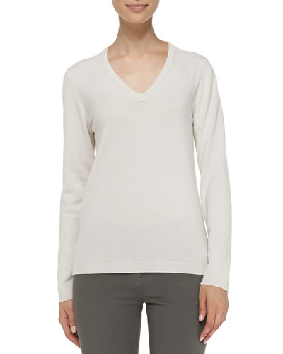 Cashmere Elbow-Patch Pullover Sweater, Vanilla Reviews