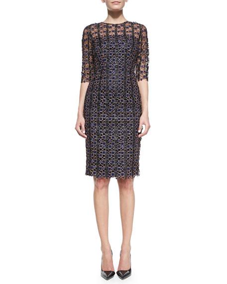 Half-Sleeve Geometric Lace Dress, Blue