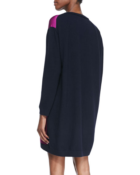 Tiki Printed Knit Shift Dress, Purple/Navy
