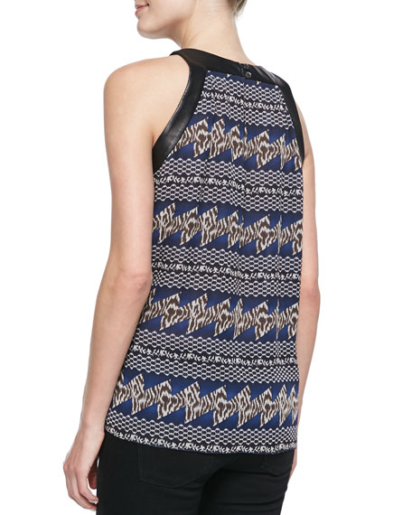 Printed Top with Leather Trim, Navy