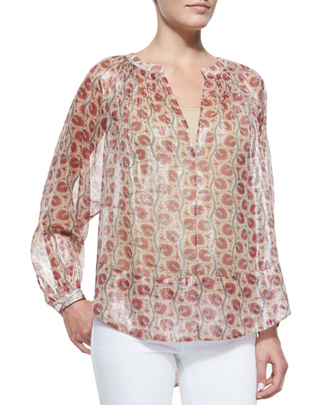 Printed Peasant Blouse, Raspberry