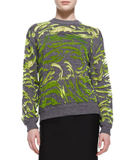 Alexander Wang Paisley-Flocked Pullover Sweater