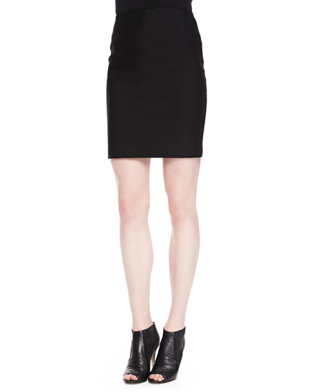Fitted Back-Zip Pencil Skirt