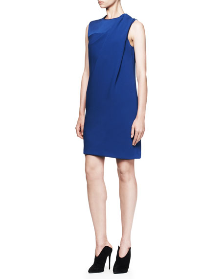 Draped Crewneck Dress, Neptune Blue