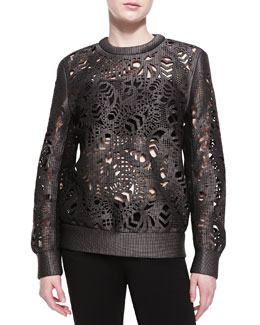 Alexander Wang Laser-Cut Oversized Crewneck Sweater
