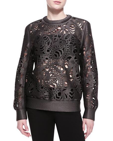 Laser-Cut Oversized Crewneck Sweater