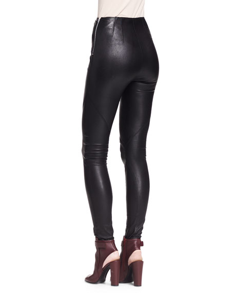 Stretch Leather Leggings, Black