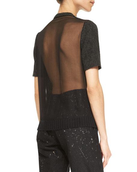 Sheer-Back Short-Sleeve Argyle Sweater, Green/Black