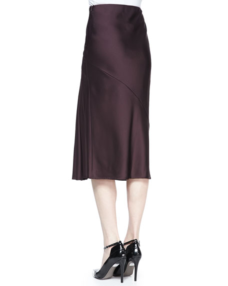 Satin Crepe Midi Skirt, Eggplant