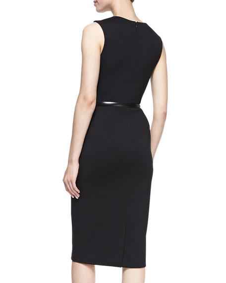 Sleeveless Twisted Sheath Dress with Belt, Black/Evergreen