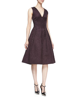 Jason Wu Satin Jacquard V-Neck Dress, Eggplant