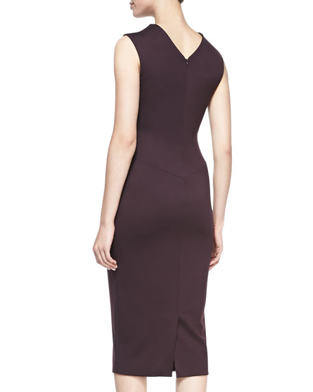 Satin/Ponte Sheath Dress, Eggplant