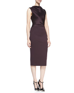 Jason Wu Satin/Ponte Sheath Dress, Eggplant