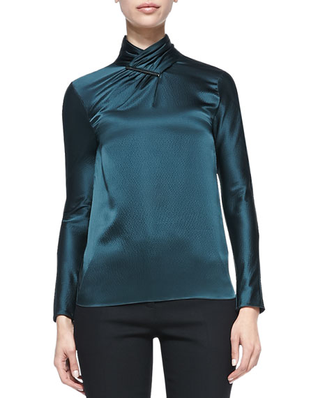 Long-Sleeve Hammered Silk Blouse, Evergreen