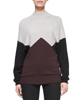 Jason Wu Long-Sleeve Colorblock Pullover Sweater, Black/Eggplant