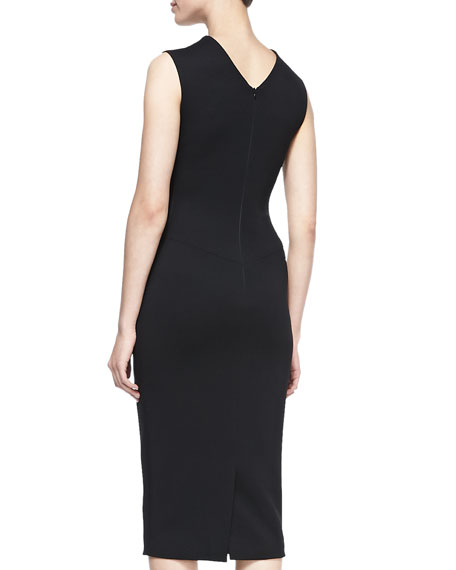 Embroidered-Front Sheath Dress, Black