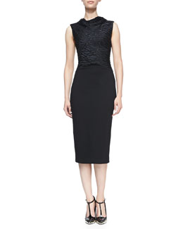 Jason Wu Embroidered-Front Sheath Dress, Black