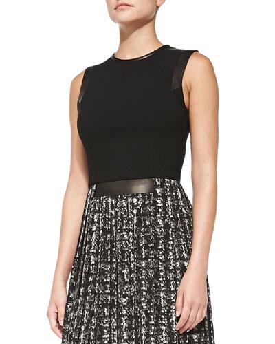 Leather-Trim Combo Dress