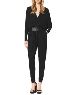 Michael Kors  Long-Sleeve Jersey Jumpsuit