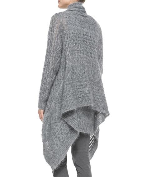 Long-Sleeve Draped Mohair Cardigan