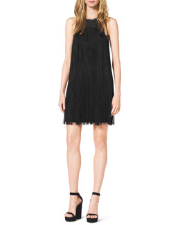 Michael Kors  Leather-Top Fringe Dress