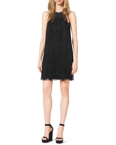Michael Kors  Leather-Top Fringe Dress