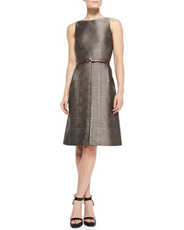 Michael Kors  Belted Plaid A-Line Dress