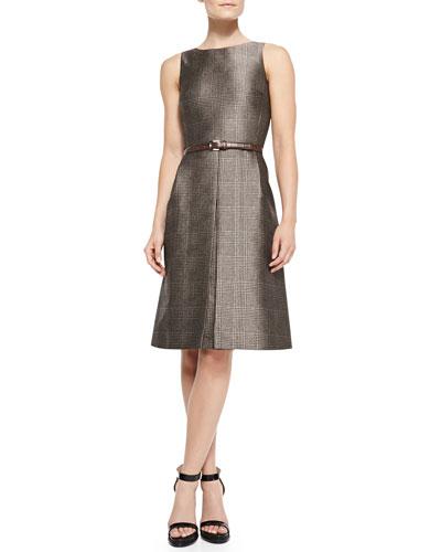Michael Kors  Belted Plaid A-Line Dress