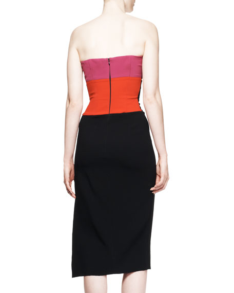 Strapless Contrast-Detail Dress