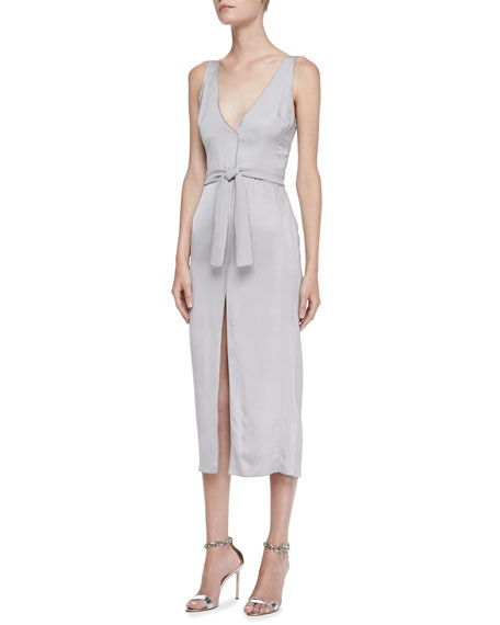Sleeveless Belted Satin Dress
