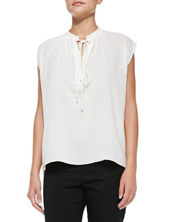 Michael Kors  Tie-Neck Silk Blouse