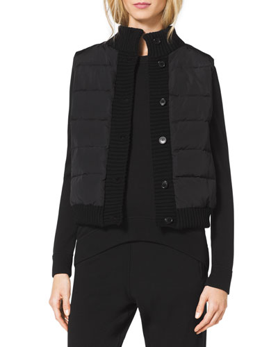 Michael Kors  Knit-Trim Puffer Vest