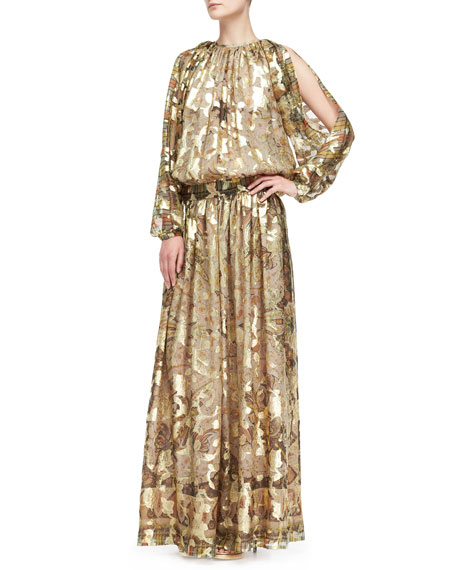 Metallic Cold-Shoulder Jacquard Gown