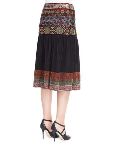 Beaded Embroidered-Waist Skirt