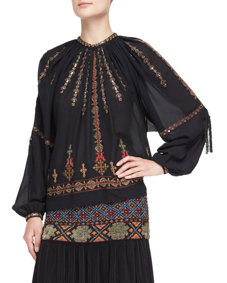 Embroidered & Beaded Peasant Blouse