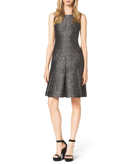 Metallic Herringbone Pleated Dress