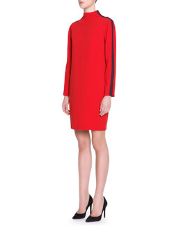 Piazza Sempione Mock-Neck Striped-Long-Sleeve Cady Dress, Red