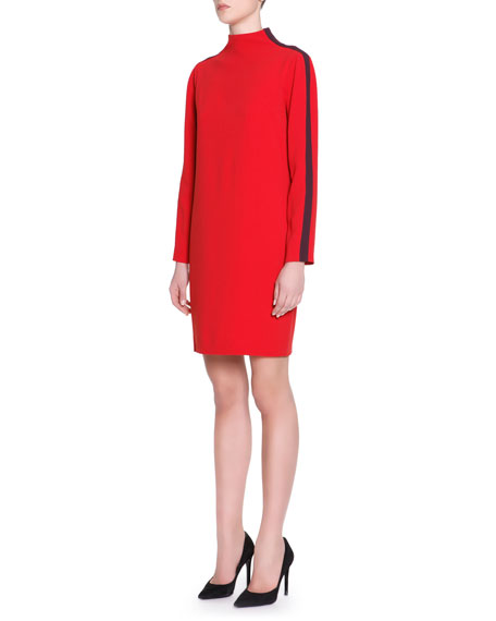 Mock-Neck Striped-Long-Sleeve Cady Dress, Red
